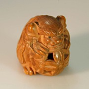 Hand Carved and Signed Boxwood Netsuke of Ancient Dog c. 19th C.