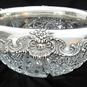 Tiffany Sterling Silver and Crystal Large Bowl