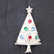 Eisenberg Ice Silver Metal And Stones Christmas Tree Brooch