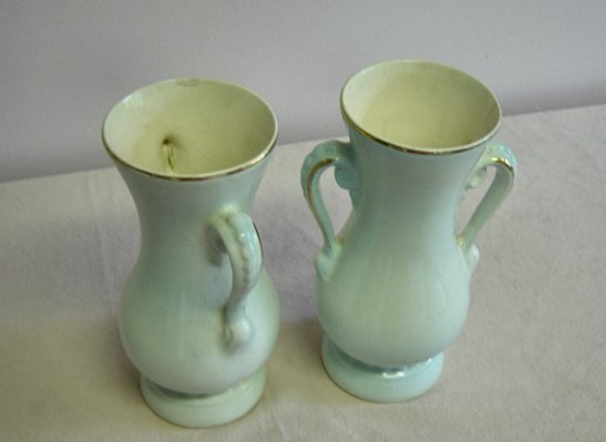 Royal Copley Gold Trimmed Handled Vases