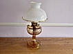 Vintage Aladdin Amber Washington Drape Oil Lamp With Shade