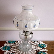 Vintage Clear Glass Oil Lamp With Blue Meadow Aladdin Shade