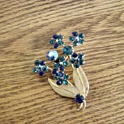 Austria Shades Of Blues Stones And Gold Flower Brooch