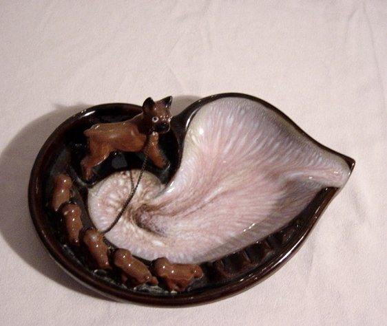 Vintage Tilso Japan Ashtray With Dogs
