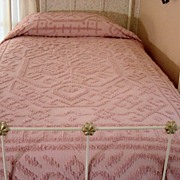Vintage Dark Dusty Pink Chenille Twin Spread