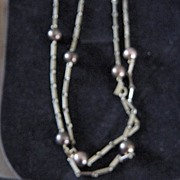 Monet Gold Tone And Bronze Ball/Chain Necklace