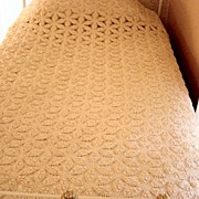 Vintage Crochet Pinwheel Bed Spread And Dresser Scarves Handmade