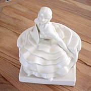 Vintage Rookwood Victorian Marble Sitting Lady With Fan Figurine