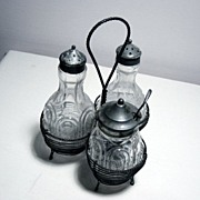 Antique Salt/Pepper Mayo Or Jam Jar Set In Wire Holder