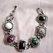 Vintage Novelty Beads On Silver Metal Bracelet
