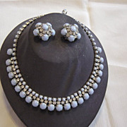Vintage Light Blue Glass Beads And Rhinestone Necklace