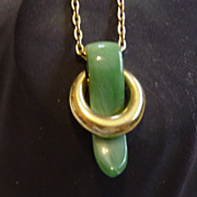 Trifari Jade Green Pendent Necklace