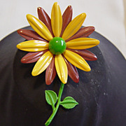 Yellow And Brown Daisy Enameled Brooch