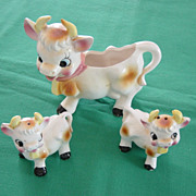 Bessie The Cow Creamer With Salt And Pepper Shakers