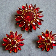 Vintage Judy Lee Brooch And Earrings Set Amber To Yellow