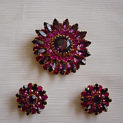 VIntage Judy Lee Pink To Lavender Brooch  / Earrings Set