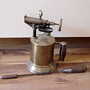 Vintage Belknap 135 Brass Blow Torch And Iron
