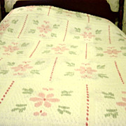 Vintage Chenille Pink And Green Bedspread
