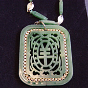 Vintage Jade Green Medallion Style Necklace