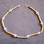 14kt Gold And Pearl Bracelet Made In Israel