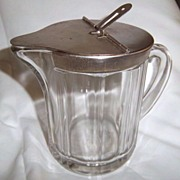 SALE McKee Glass Pitcher w/ Hinged Metal Lid