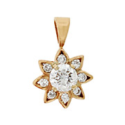 Art Deco 14kt Diamond Flower Pendant .60ctw