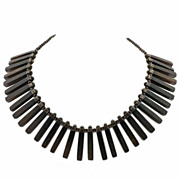 Los Castillo Mexican Sterling & Wood Collar Necklace