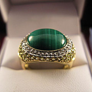 SALE 14K Gold  Malachite  Diamond  Peridot  Ring