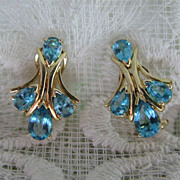 REDUCED 14K Gold, Aqua Blue Topaz Earrings