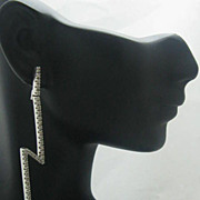 SALE 14K White Gold Diamond Lightning Bolt Earrings Zigzag