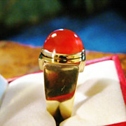 SALE Carnelian 14k Yellow Gold Ring