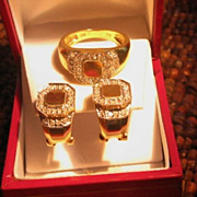 SALE 14K Gold Diamond Earring & Ring Set
