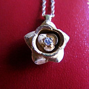 SALE 14k Yellow Gold Diamond Rose Pendant