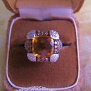 SALE Citrine White & Chocolate Diamond Cocktail Ring