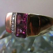 SALE Pink Tourmaline Diamond Ring