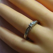 Princess Cut Diamond Engagement Promise Ring   Size 10.