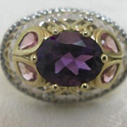 SALE Two tone Gold Diamond and Amethyst Cocktail Ring