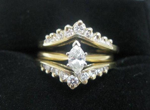 Marquise Diamond Wedding Engagement Set