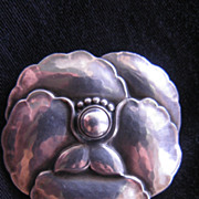 SALE Vintage Georg Jensen Sterling Silver Pansy Flower Pin Brooch
