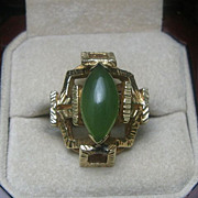 SALE 14K Gold Bamboo Jade Ring