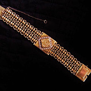 SALE Retro Vintage 14K Yellow Gold & Diamond Hidden Watch Bracelet