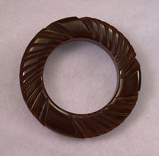 Carved Brown Bakelite Wreath Pin