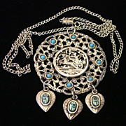 Egyptian Necklace and Pendant with Scarab Dangles
