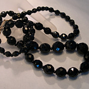 Hob� Faceted Black Glass Beaded Necklace / 24 Inches
