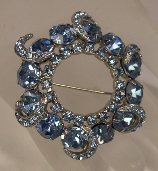 Pale Blue Moon Wreath Pin