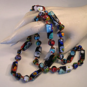 Beautiful Murano Millefiore Art Glass Beaded Necklace
