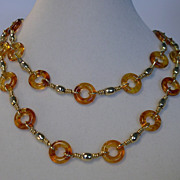 "Hattie Carnegie Lucite / Goldtone 34"" Necklace�Mint Condition!"