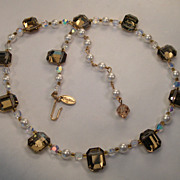 Vendome Beaded Necklace w/Gilded and AB Beads, and Faux Pearls
