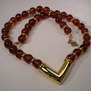 "Napier Faux Tortoise Lucite Beads and Goldtone 24"" Necklace"
