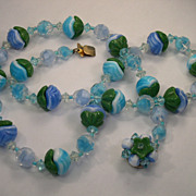 West Germany Art Glass Beaded Necklace / Fancy Bead Clasp